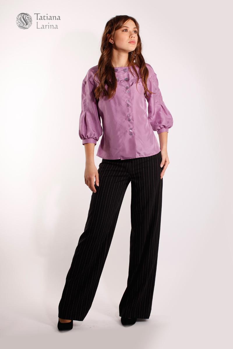 45833584 Черные широкие брюки купить в тонкую полоску | Tatiana Larina