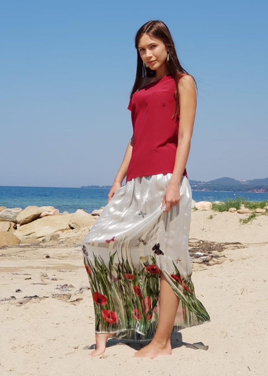 a98d93ffb8e красивая летняя длинная юбка шелк ...