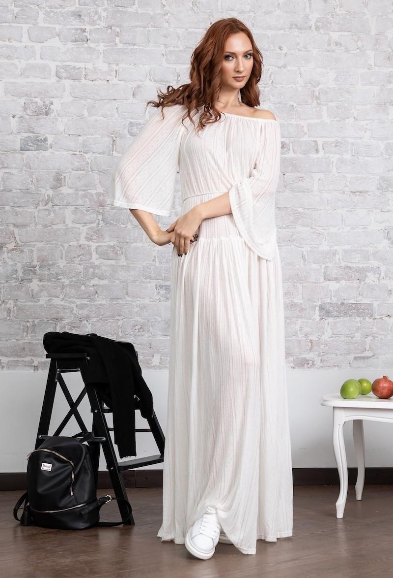 58132fbc615 ажурное летнее платье  летнее белое платье в пол с открытыми плечами ...
