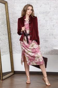 Бархатный женский пиджак бордо