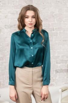 Блузка-рубашка из шелка