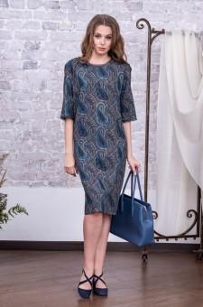 """Офисное платье из шерсти """"Пейсли"""" (синее)"""