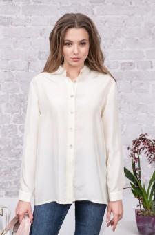 Блузка-рубашка из шелка с кружевом