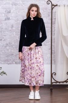 Комплект из бархатного жакета и шелковой юбки