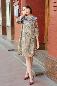 Серо-голубое платье из шелка деворе
