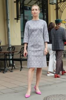 Платье-миди из хлопкового жаккарда