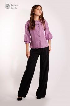 Черные широкие брюки в тонкую полоску