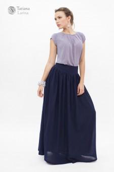 Синяя длинная юбка из тонкой шерсти