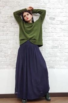 Шерстяная юбка-макси чернильного цвета