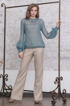 Пуловер цвета морской волны из кидмохера на шелке