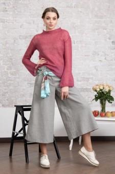 Серые шерстяные брюки-кюлоты