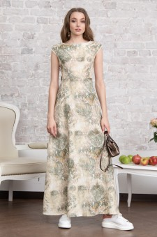 Льняное платье в пол (зеленое)