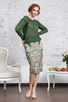 Зеленый джемпер из кидмохера
