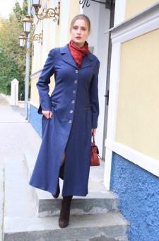 Демисезонное приталенное синее пальто