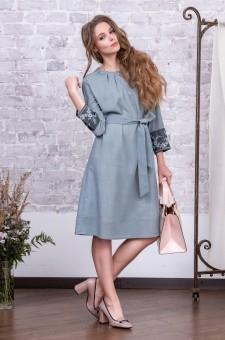 офисное платье из шерсти серое голубое
