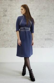 Шерстяное платье с поясом синее платье из шерсти