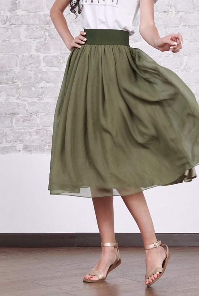 летняя юбка из натурального шелка