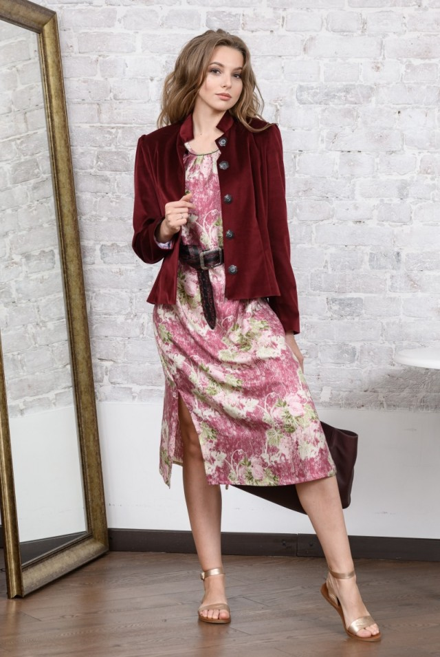 женский бархатный пиджак бордо