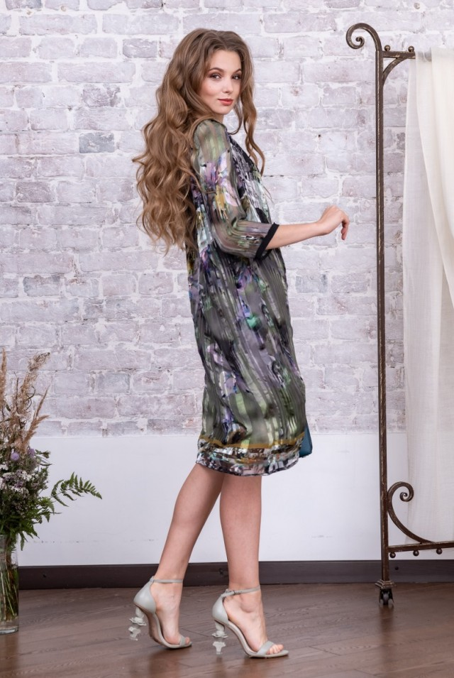 платье шелковый шифон с цветами