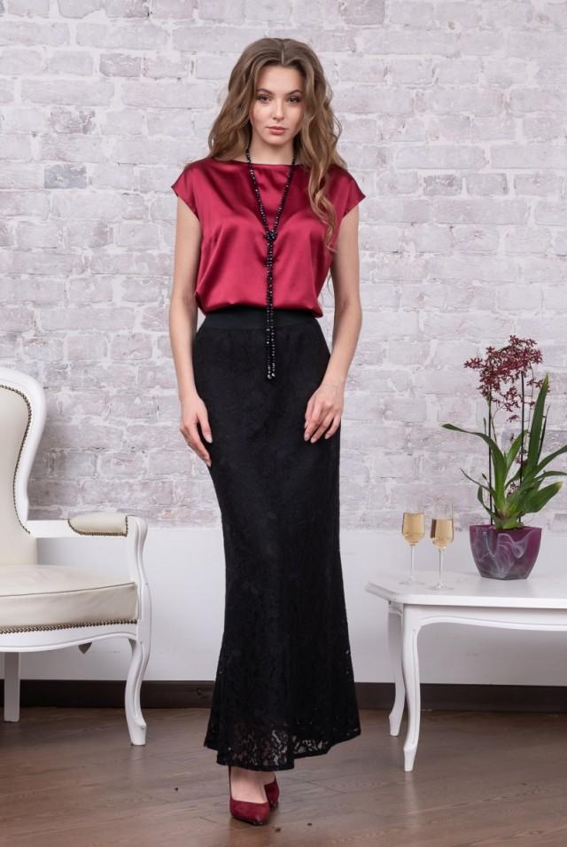 нарядная юбка черное кружево