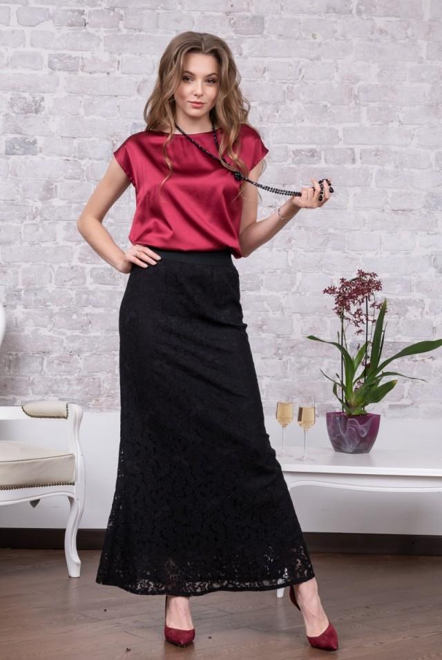 красивая длинная юбка кружево черное