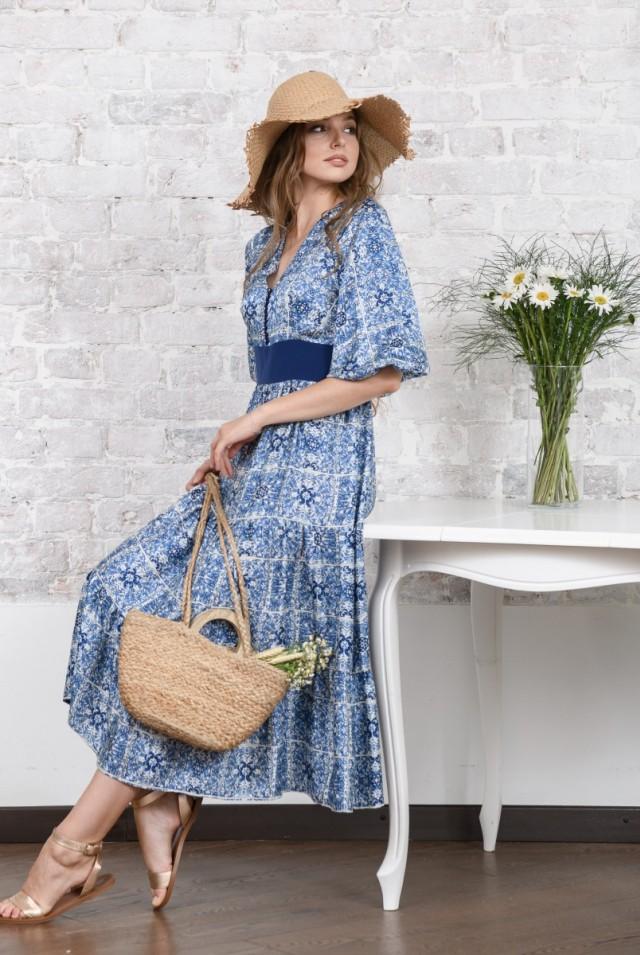 ярусное платье из шелка
