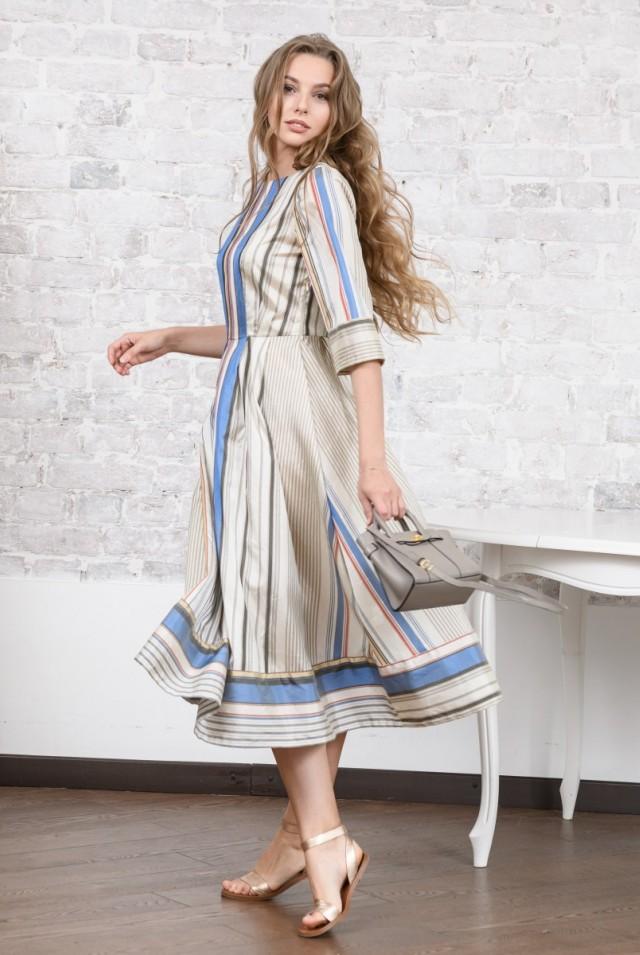 шелковое платье миди в полоску