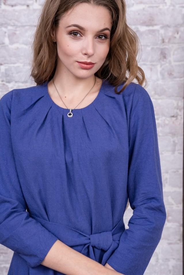 деловое платье из хлопка синее фиолетовое