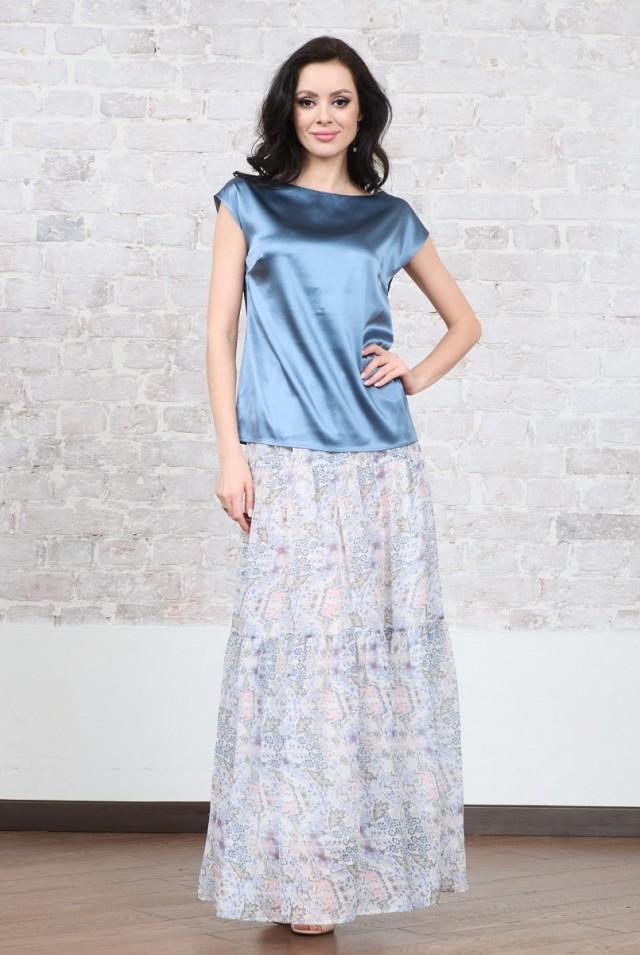 Длинная шелковая юбка