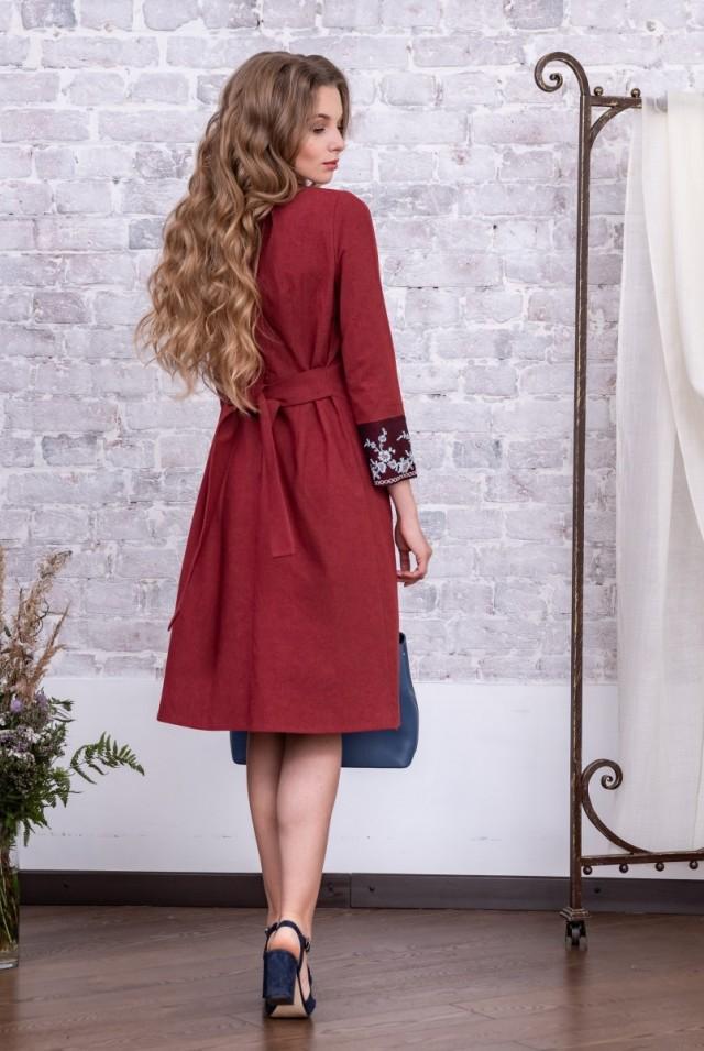 платье из хлопка для офиса красное