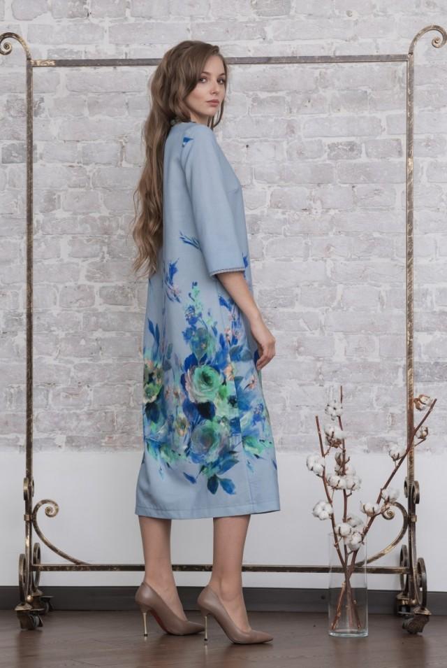 шерстяное платье миди голубое