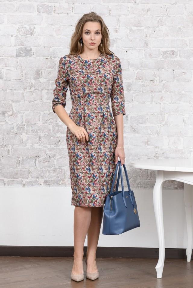 цветное шелковое прямое платье