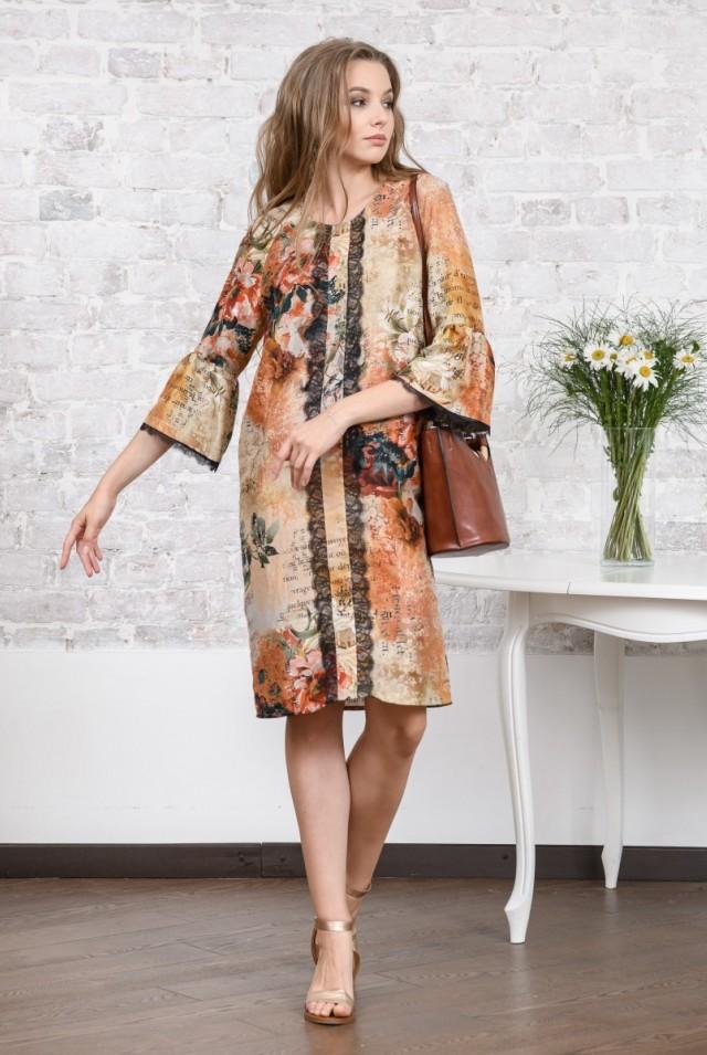 яркое шелковое платье