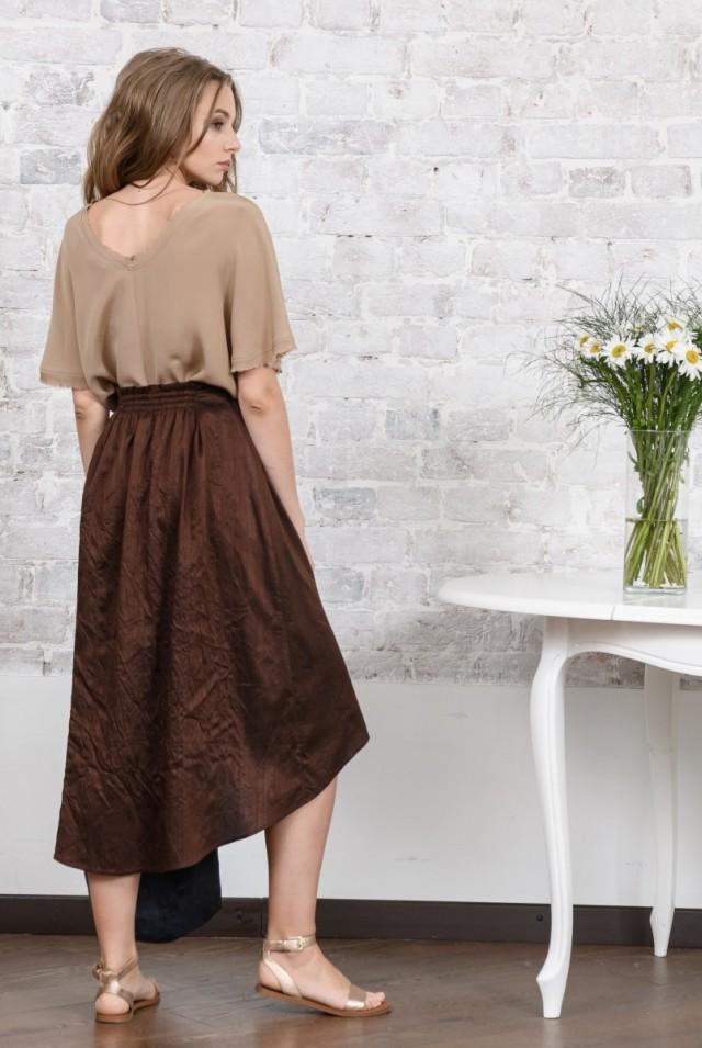 асимметричная юбка из шелка шоколадная