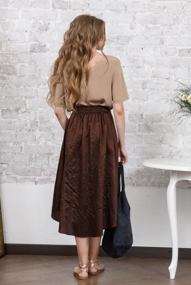 юбка миди из дикого шелка коричневая