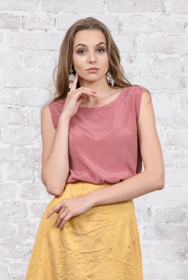 шелковая майка розовая