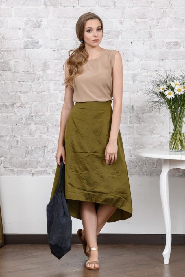 шелковая юбка хаки