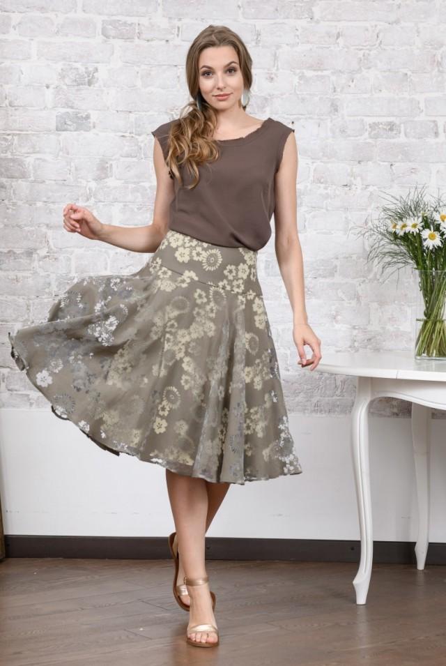 летняя юбка хаки