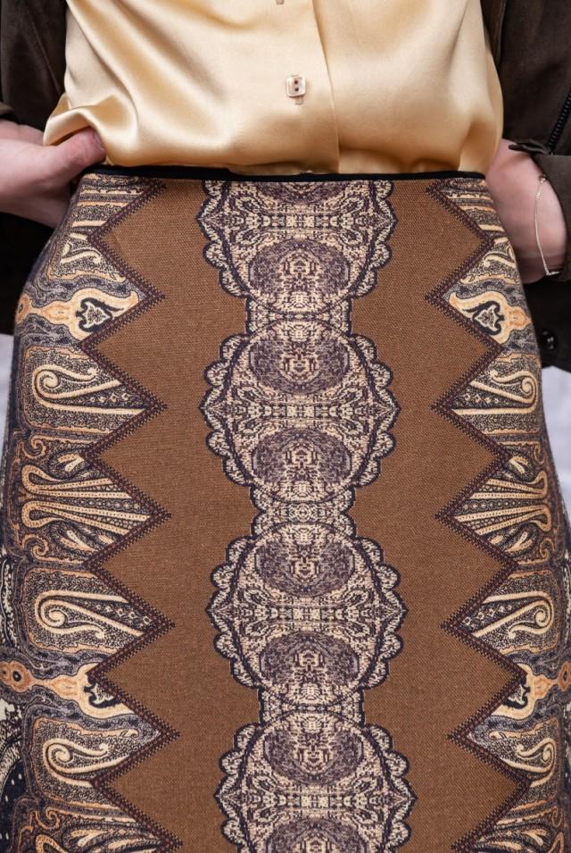 юбка карандаш с принтом коричневая