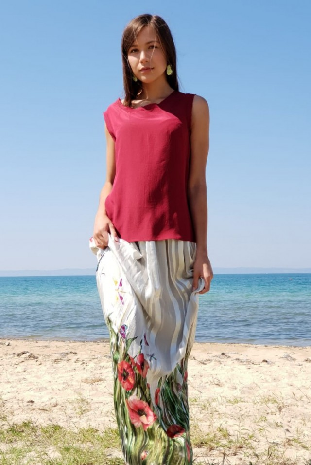 шелковая юбка и топ из шелка
