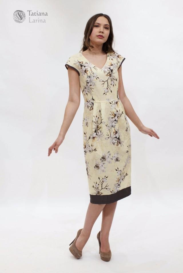 Летнее льняное платье миди