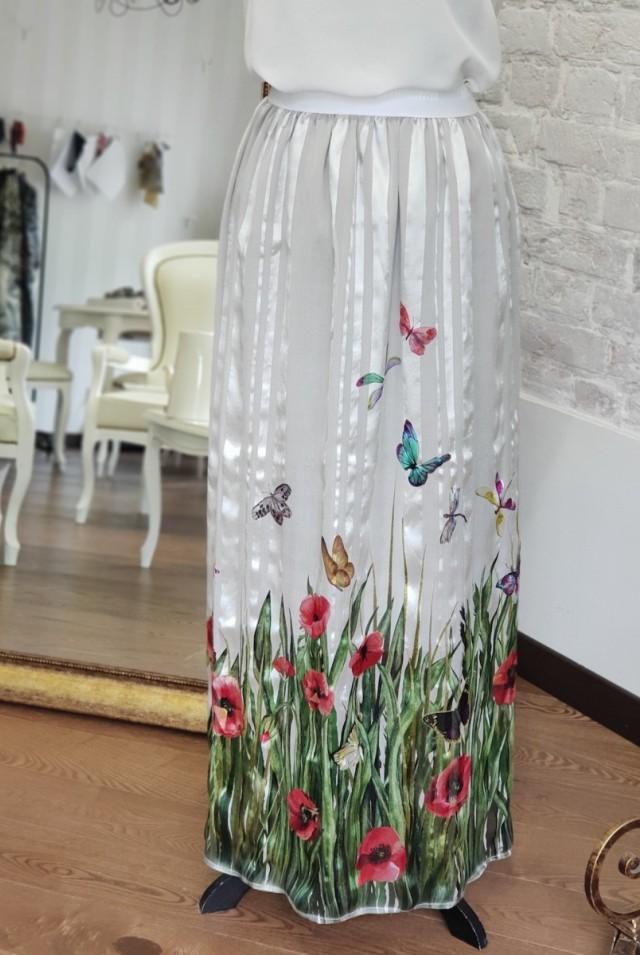 летняя длинная юбка из шелка