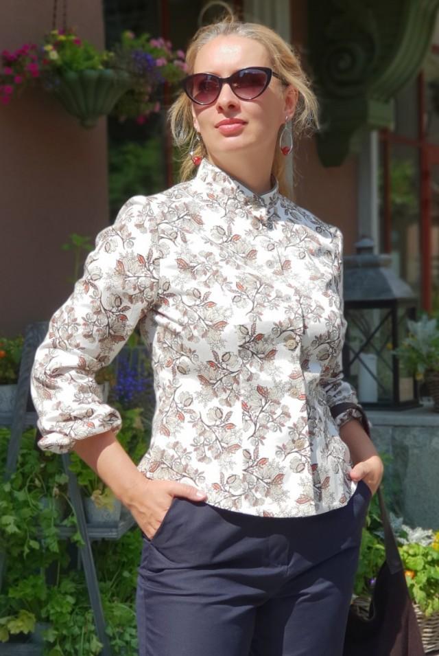 Блузка с принтом из хлопка