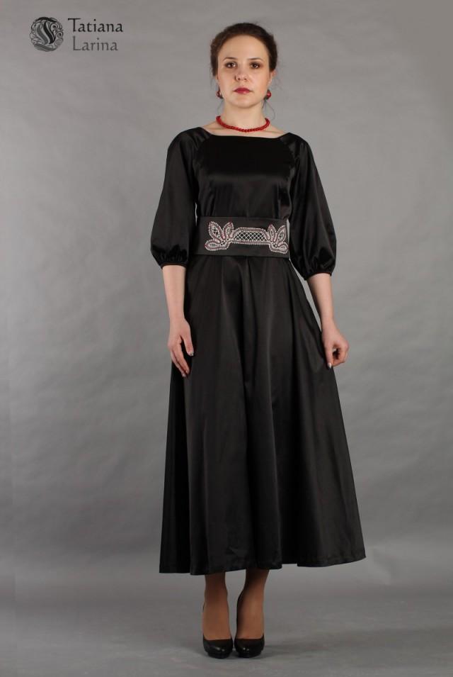 Нарядное длинное черное платье