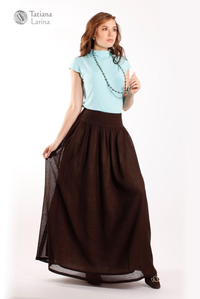 коричневая длинная юбка