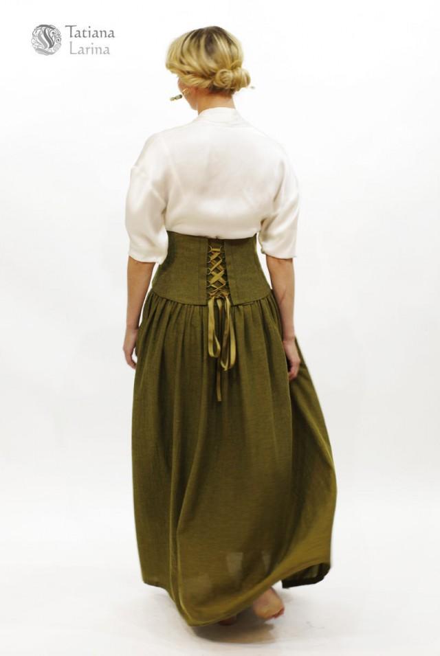 Зеленая шерстяная юбка в пол