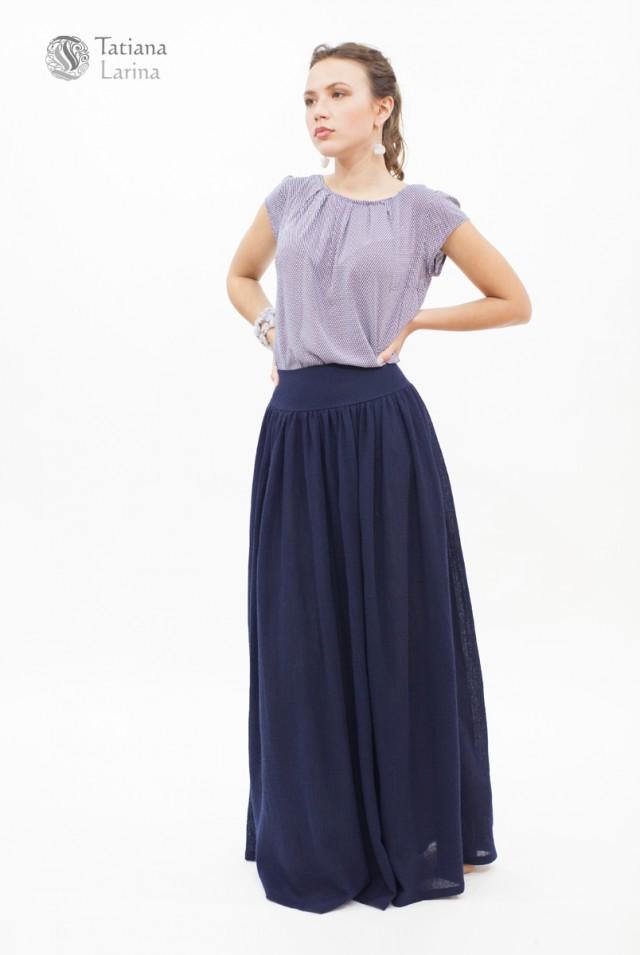 Длинная синяя юбка шерстяная