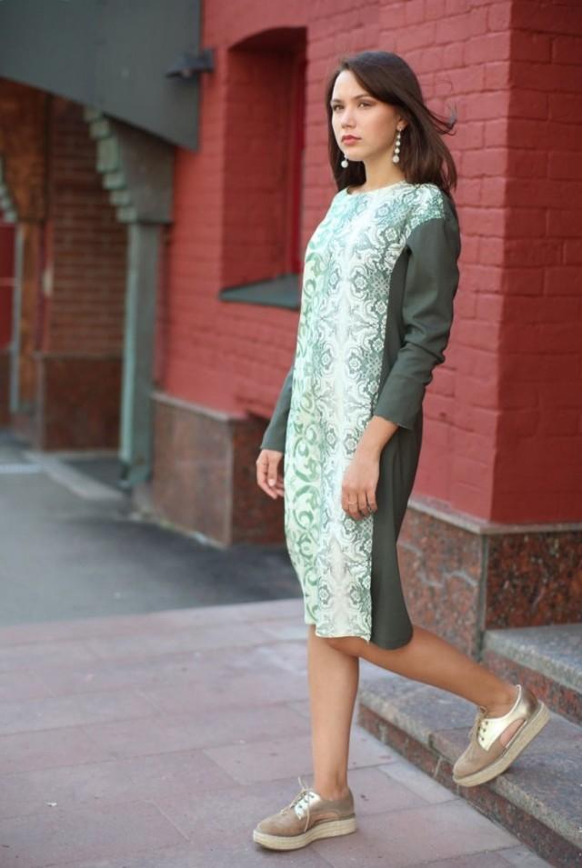 шерстяное платье миди прямое