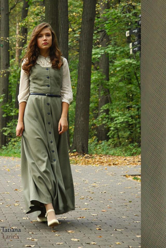 Длинное платье сарафан из шерсти