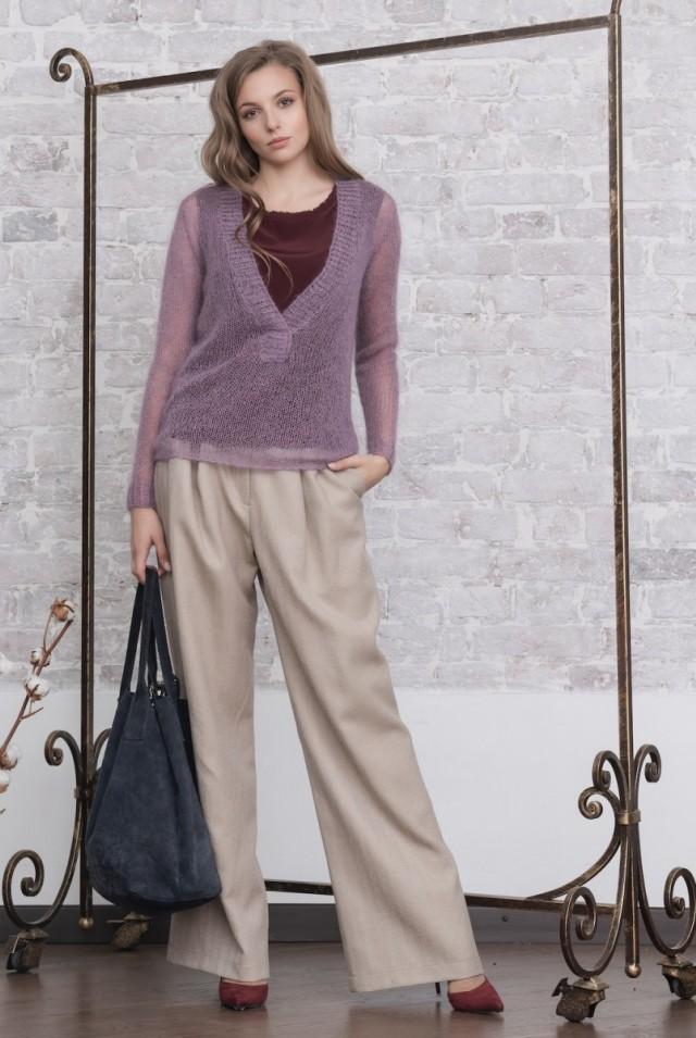 женские брюки широкие палаццо из шерсти